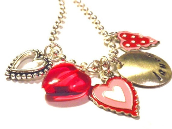 Custom Hand Stamped RED HEARTS Personalized Charm Necklace
