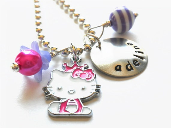 HELLO KITTY Jewelry - Hand Stamped Charm Necklace Personalized