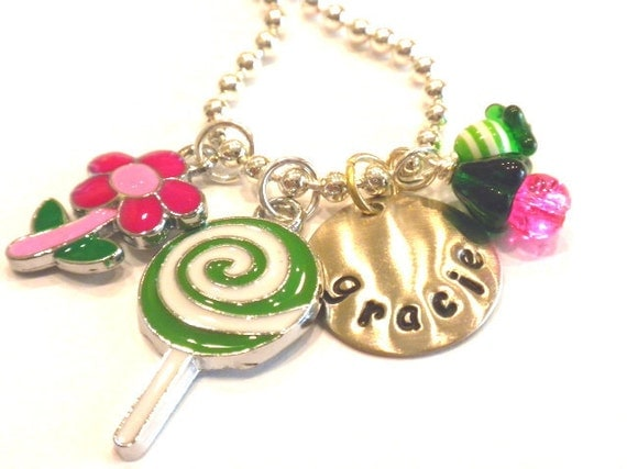 Personalized Necklace - Flowers and Candy -  Hand Stamped Charm Necklace
