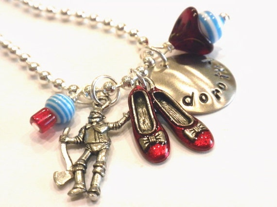 Personalized Charm Necklace - Tin Man and Dorothy Hand Stamped Necklace - OZ