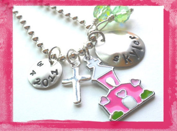 First Communion Necklace Hand Stamped Charm Necklace KEEPING THE FAITH for children