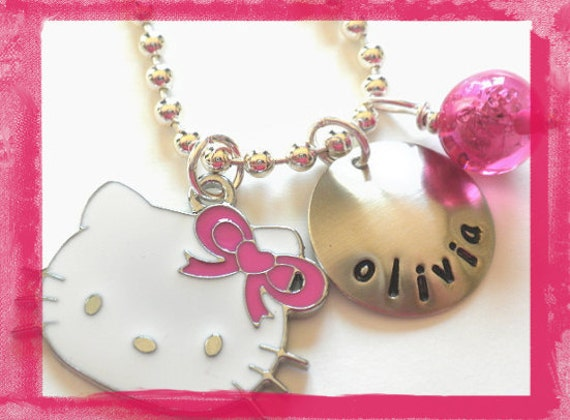 Hand Stamped Charm Necklace - Hello Kitty Large Face with Pink Bow