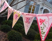 LOVE Valentine Flag Banner, fun and fancy with sparkles and vintage cloth