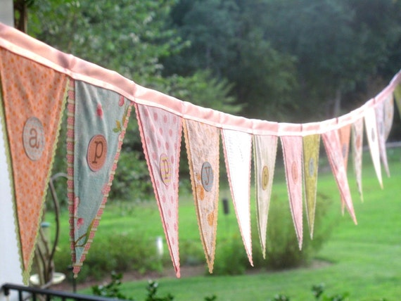 Create your own custom flag banner, vintage linens, fun new fabrics