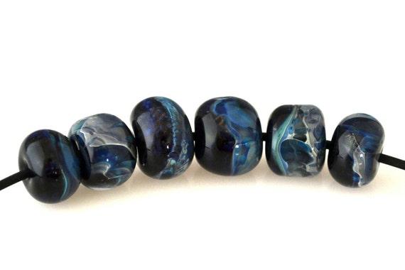 Organic Lampwork Glass Boro Round Beads - Majestic Mountains (6)