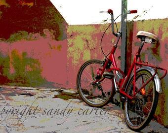 Red Bike in Sevilla Fine Art Photograph
