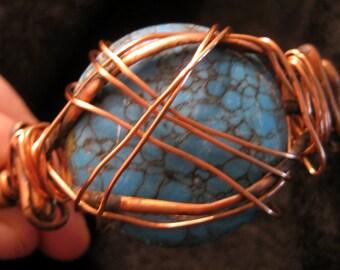 Turquoise Sunset Copper Cuff Bracelet