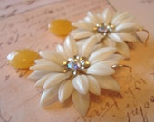 Upcycled Earrings - Large Vintage Daisies, Yellow Jade, 14k Gold Filled - Mod Retro Shabby Chic ((Glinda Earrings))