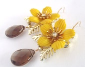 Upcycled Vintage Earrings - Vintage Yellow Flowers, Smoky Quartz, 14k Gold Filled - Mod Shabby Chic ((Virginia Earrings))