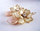 Upcycled Vintage Earrings - Vintage Cream Flowers, Pink Coin Pearls, 14k Gold Filled - Romantic Shabby Chic ((Clara Earrings))