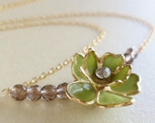Vintage Flower Necklace - Upcycled Green Flowers, Smoky Quartz, 14k Gold Filled Chain - ((Clara Lines Necklace))