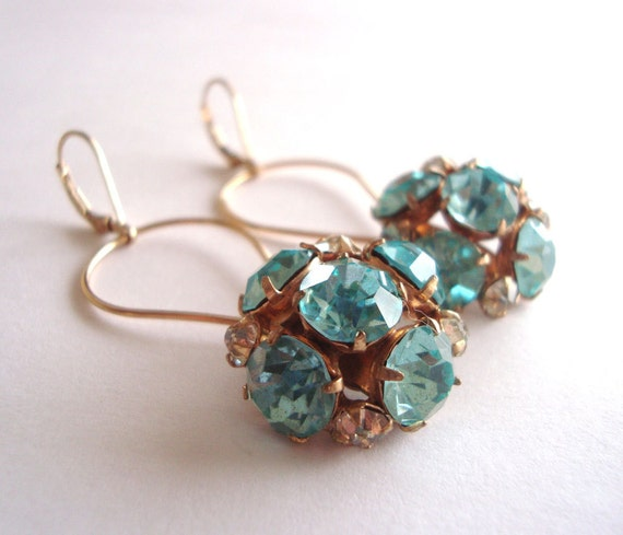 Upcycled Cocktail Party or Bridal Earrings - Vintage Aquamarine Rhinestones, 14k Gold Filled - (Bette Earrings)