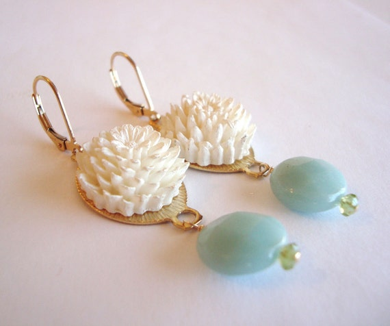Upcycled Vintage Earrings - Ivory Carved Vintage Flowers, Faceted Amazonite, Peridot, 14k Gold Filled - (Thelma Earrings)