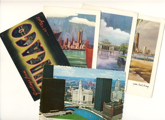 Chicago, United States, 1960's, Vintage, Skyline, City, Colortone, Retro, Set of  5 Postcards, History, Collectible