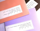 Calligraphy Wrap Around Labels for Colored Envelopes