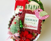 A Merry Little Christmas Metal Bottlecap Embellishment Tag