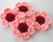 Crochet Flowers in Salmon, Bittersweet, Pinkorange 4 Pieces