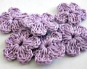 6-pieces Wedding flowers Fairytale, Crochet Flowers, Purple, Applique