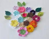 Crochet Flowers, 24 pieces, Fairytale Crochet Flowers