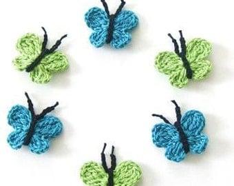 6-pieces Fairytale Crochet Butterfly Green, Blue, Turquoise, Olive,  Crochet  Applique