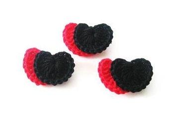 Crochet hearts, Black, Red, heart, Supply, Applique, Sewing, Handmade