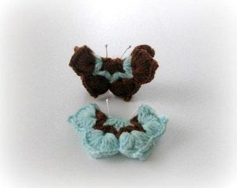 2-pieces Fairytale Crochet Butterfly Aqua, Turquoise, Brown, Crochet Butterfly