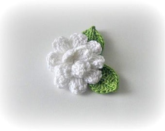 3 D White, Green, Crochet Flower