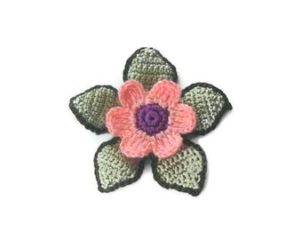 Green, Peach, lilac,  Crochet Flower,  Crochet, 3 D flower, Applique, Spring, Mothers day, Summer