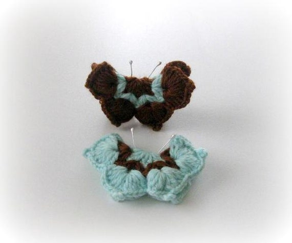 2-pieces Fairytale Crochet Butterfly Aqua, Turquoise, Brown, Crochet Butterfly