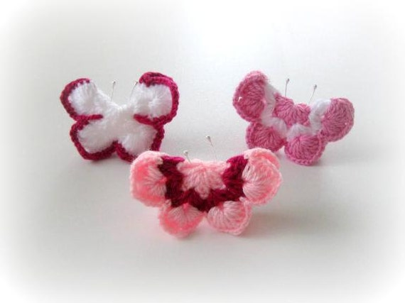 3-pieces Fairytale Crochet Butterfly White, Pink, Purple, Lilac, Crochet Butterfly