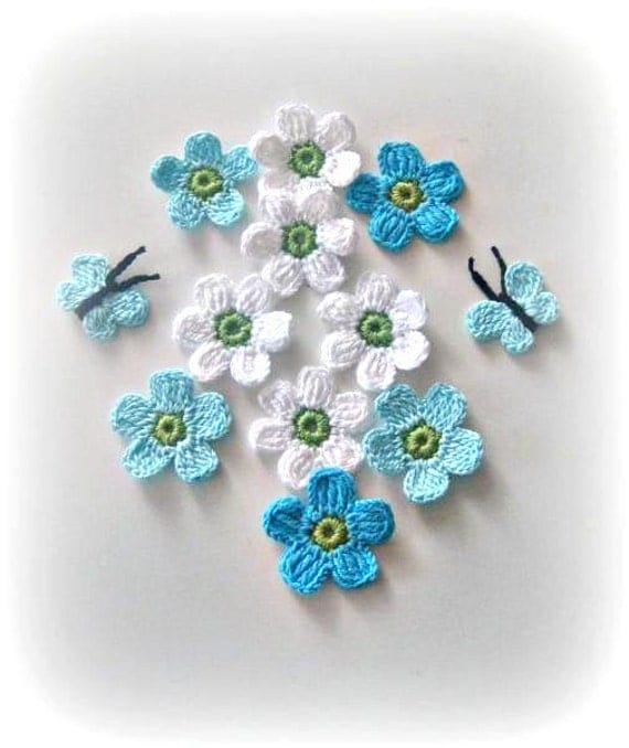 Blue, Aqua, White, Green, Crochet Flowers, 12 pieces, Fairytale Crochet Flowers and Butterflys