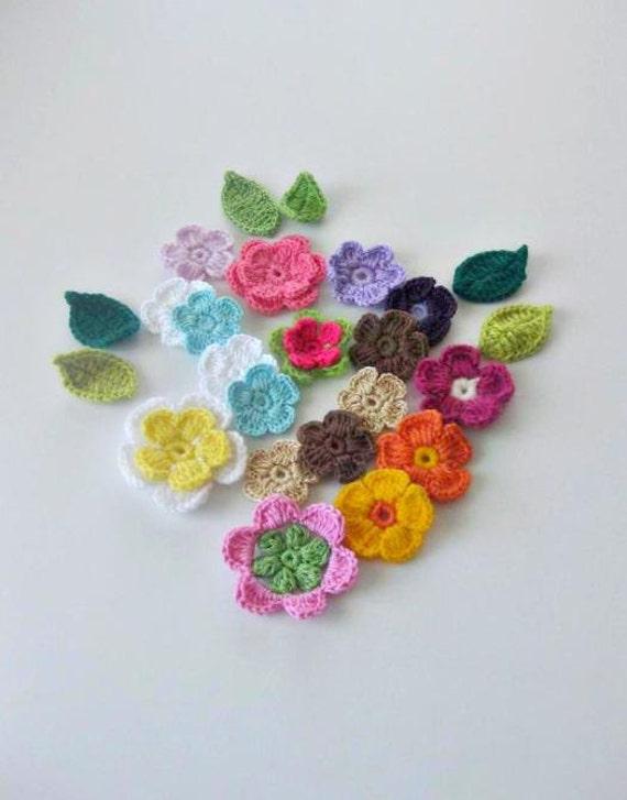 Crochet Flowers, 24 pieces, Fairytale Crochet Flowers