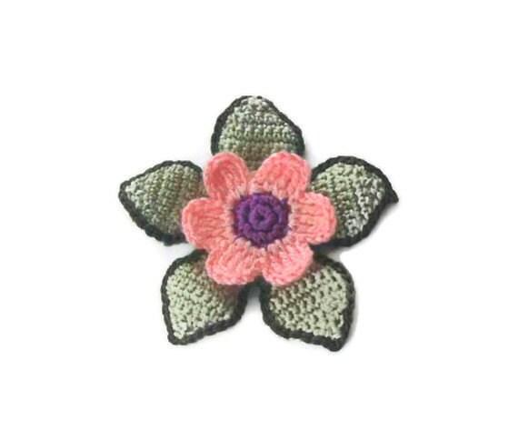 Green, Peach, lilac,  Crochet Flower,  Crochet, 3 D flower, Applique, Spring, Mothers day, Summer