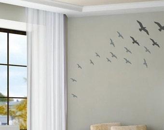 Flock in Flight - Birds - Set of 22 - Wall Decals