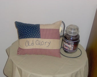 Primitive Homespun Americana pillow  OLD GLORY  12 x16 inches Patriotic