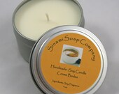 Delicious Creme Brulee Soy Candle 6 oz Travel Tin Strong Scent