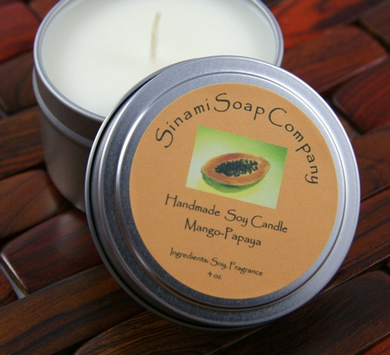 Handmade Mango Papaya Soy Candle 6 oz Tin