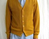 Vintage Mustard Yellow Cardigan, XL