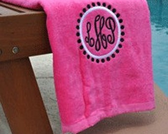 Preppy Circle Monogrammed Beach Towel | Personalized Beach & Pool Towel