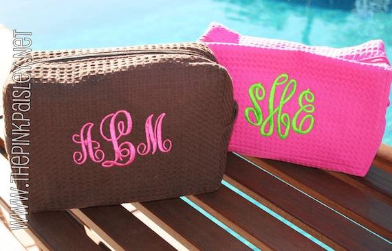 Monogrammed MakeUp Bag | Cosmetic Bag | Waffle Weave Bag