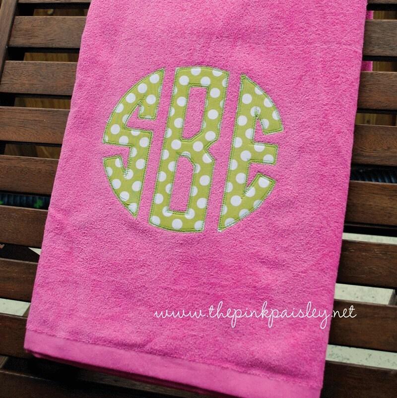 Giant Applique Monogram Beach Towel By PinkPaisleyMonograms
