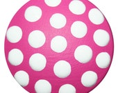 Knobs Hand Painted Bright Pink With White Polka Dots-FREE Gift Wrap