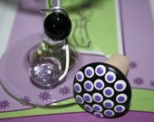 Black with Purple and White Polka Dots Wine/Bottle Stopper and Wine Charm- You Choose Wine Charm Colors