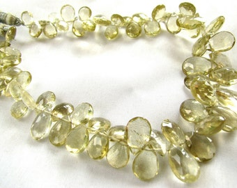 "Champagne Quartz faceted pear briolettes, 4"" half strand, 30 gemstone beads, 7-12mm LAST HALF (cqfp2)"