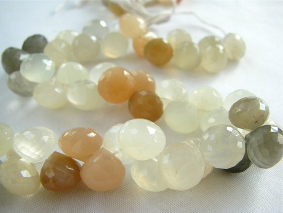 "AA Multi Moonstone micro faceted onion candy kiss briolettes, 4"" inch half strand, 24 gemstone beads 8-9 (fmo3)"