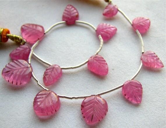 "Pink Sapphire carved leaf briolettes, 7"" inch FULL strand, 13 gemstone beads 8mm - 11mm (11w168)"