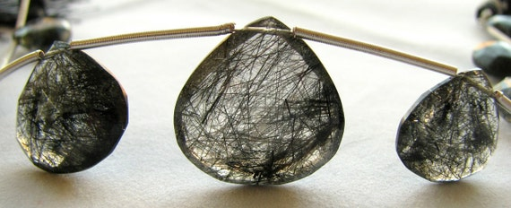 "Black Heavily Rutilated tourmalinated Quartz HUGE Faceted Heart Focals, 9"" inch FULL strand, 9 gemstone beads 11mm - 21.66mm (11w161)"