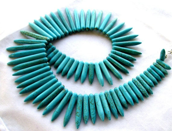 "Turquoise Howlite Stick spike beads, 7.5"" half strand 20 - 40mm (3etq4)"