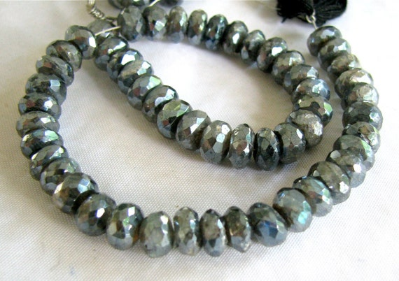 """Mystic Labradorite Faceted Rondelles, 8"""" FULL strand, LARGE Beads 6mm (3w52)"""