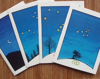 Night Sky Notecards - set of 4 blank cards